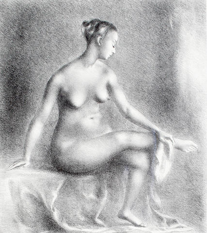 Clara Klinghoffer (British, 1900-1972) Seated female nude drying herself