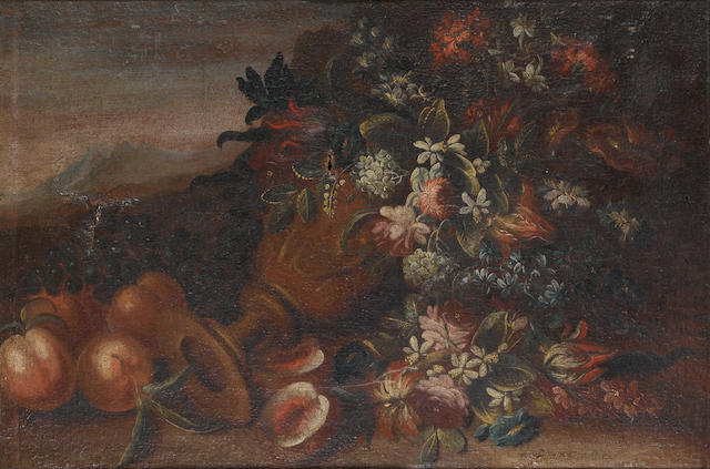 Neapolitan School, 18th Century Peaches and grapes, with roses, tulips and other flowers in a bronze