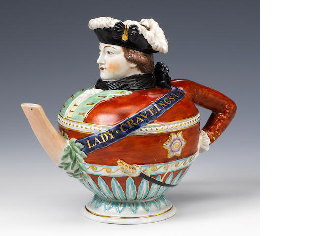 """""""Lady Craveing's Teapot"""", a fine quality Staffordshire (?) teapot and cover in the form of the socia"""