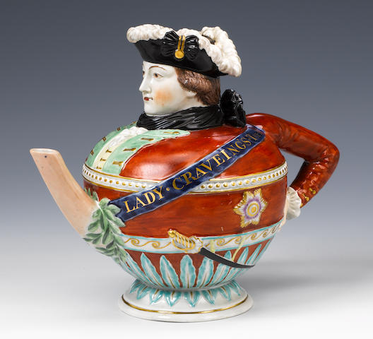 """Lady Craveing's Teapot"", a fine quality Staffordshire (?) teapot and cover in the form of the socia"