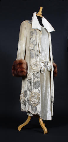 A 1920s cream silk velvet Molyneux dress and coat