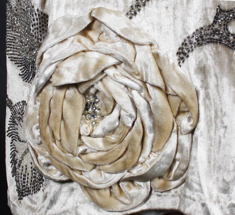 A 1920s cream silk velvet Molyneux dress and coat