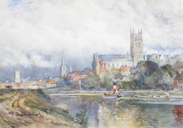 Frederick William Newton Whitehead (British, 1853-1938) View of a cathedral town from the river 22.5 x 32.5cm.