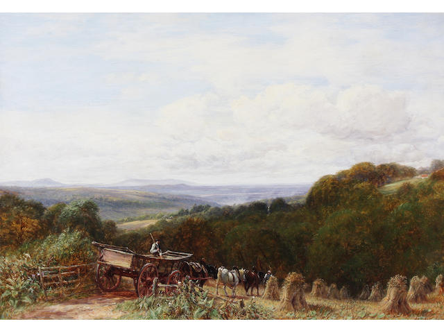 Charles Thomas Burt (British, 1823-1902) 'Near Halesowen with Clee Hills' 51 x 76.5cm.