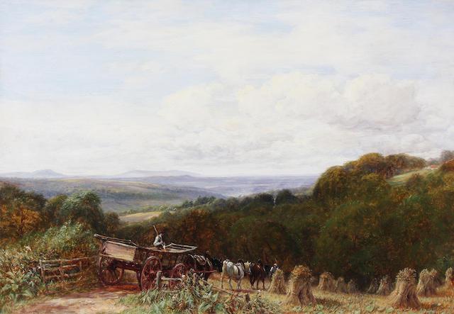 Charles Thomas Burt (British, 1823-1902) 'Near Halesowen with Clee Hills' 51 x 76.5cm.