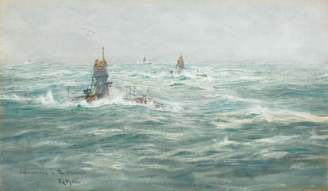 William Lionel Wyllie, R.A., R.E. (British, 1851-1931) 'Submarines in the Channel'