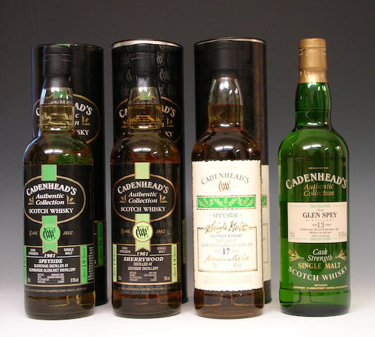 Glenburgie-Glenlivet-19 year old-1981  Lochside-19 year old-1981  Glenfiddich-Glenlivet-17 year old  Glen Spey-13 year old-1981