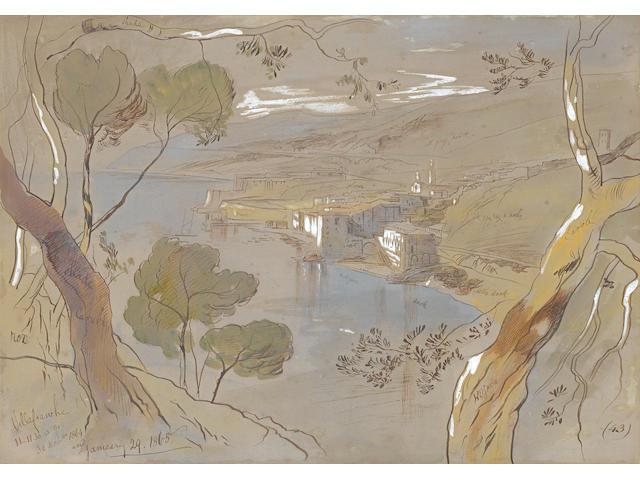 Edward Lear (British, 1812-1888) Villefranche from Cap Ferrat