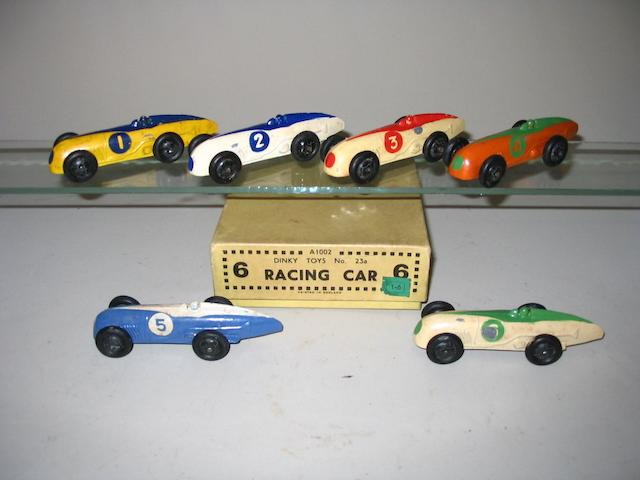 Dinky (pre-war) trade box of 6 23a Racing Cars