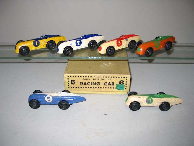 Dinky (pre-war) trade box of 6 23a Racing Cars