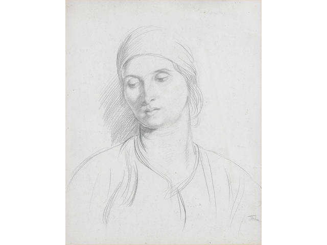 Augustus John O.M., R.A. (British, 1878-1961) Dorelia 34.2 x 27.5 cm. (13 1/2 x 10 3/4 in.)