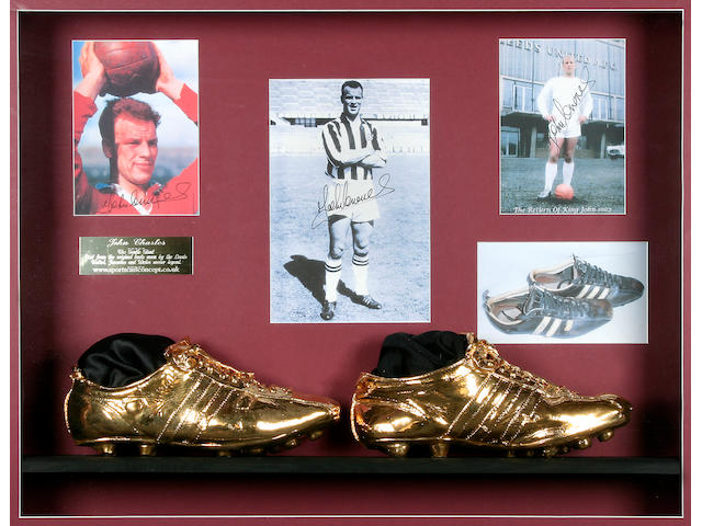 John Charles unique hand signed golden boots montage