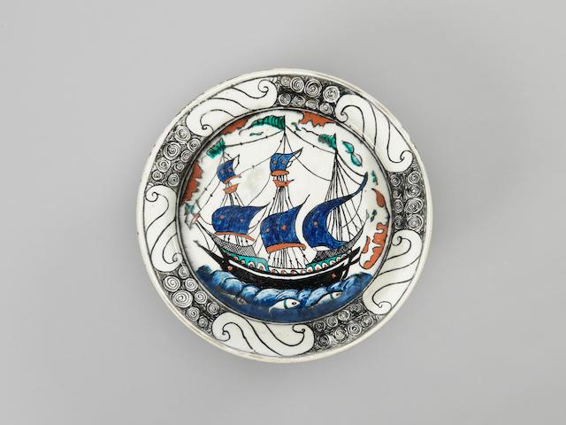A Samson Iznik style pottery Ship Dish  France, 19th Century