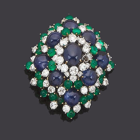 A sapphire, emerald and diamond brooch/pendant, earclip and ring suite (3) (partially illustrated)