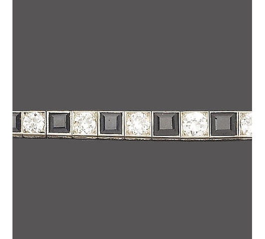 An art deco sapphire and diamond line bracelet,