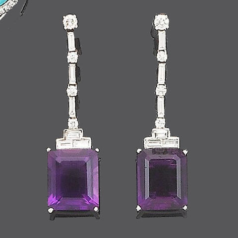 A pair of amethyst and diamond pendent earrings