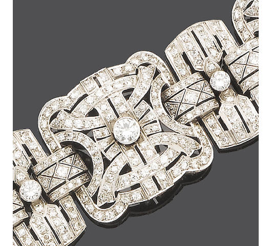 An art deco diamond strap bracelet,