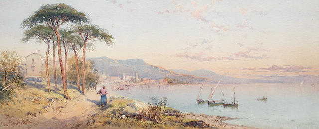 Charles Rowbotham (British, circa 1856-1921) Italian lake scene