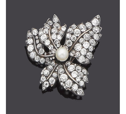 A late 19th century diamond brooch,