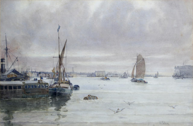 John William Gilroy (British, Newcastle Upon Tyne 1868-1944 Whitley Bay, Northumbria) Shipping on the Thames