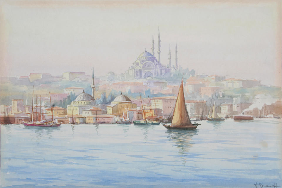 Cherif (Turkish, early 20th century) A view of Istanbul with the Golden Horn and Haggia Sophia, and 29 x 42cm (2).