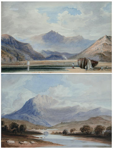 Circle of John Varley, O.W.S. (British, 1778-1842) Estuary scene with mountains, possibly North Wales, and another, a mountain landscape, (2),