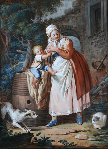 Flemish School circa 1850 Mother and child in a yard,