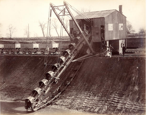 CANALS and RAILWAYS  Twenty-five scenes of the construction of the Manchester Ship Canal, together with construction of the Saltash viaduct, 1890s