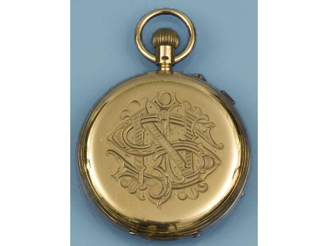 Thomas Russell & Son, Liverpool: An 18ct gold chronograph hunter pocket watch