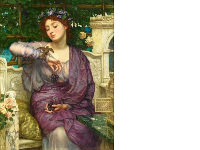 Sir Edward John Poynter  Lesbia and her sparrow, oil on canvas, 48 x 36 cm