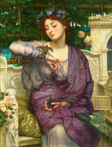 Sir Edward John Poynter  Lesbia and her sparrow, oil on canvas, 48 x 36 cm