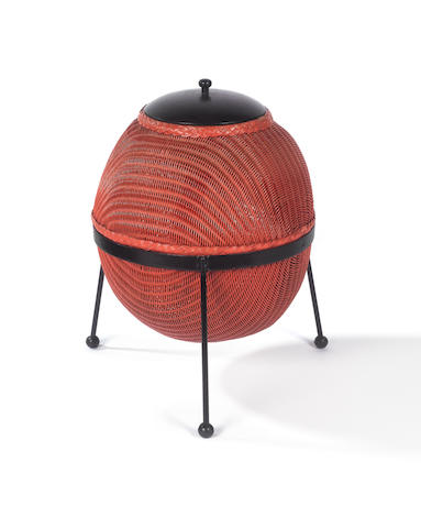 Geoffrey Lusty for Lloyd Loom, a 'Sputnik' linen basket, designed 1957 wicker body with ebonised wood cover and steel frame