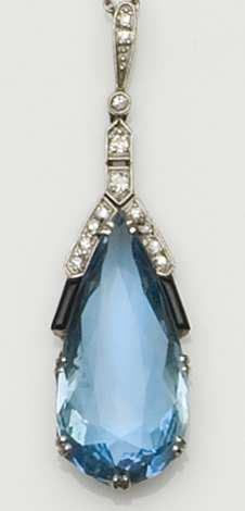An Art Deco aquamarine, onyx, and diamond pendant