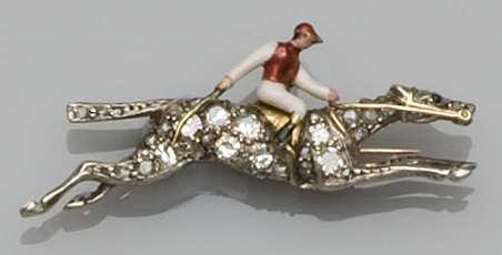 Racing interest: A diamond and enamel horse and jockey brooch