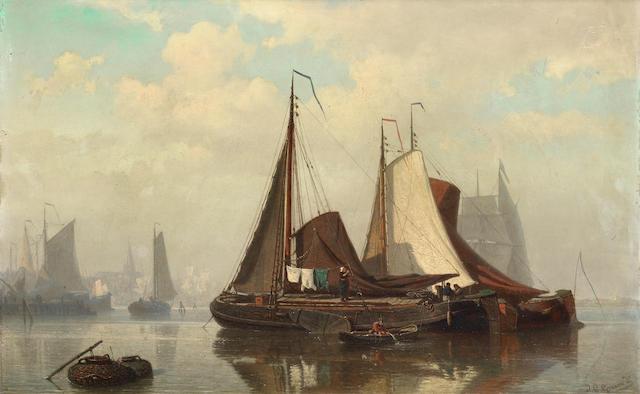 Johan Conrad Greive, Jnr. (Dutch, 1837-1891) An estuary scene with barges at anchor