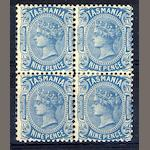 Australian States: Tasmania: 1906-13: 9d. perf. compound of 12½ and 11, mint o.g. block of four. (937)