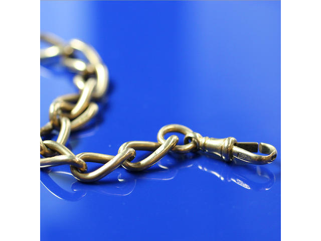 An 18ct gold double curb-link Albert chain