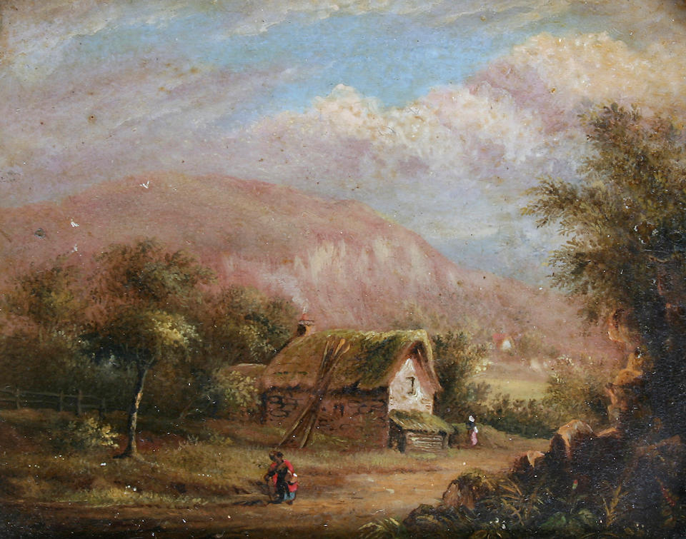 Follower of James Arthur O'Connor  (Irish, 1792-1841) River landscape with figures, together with another of a cottage with figure on a pathway, a pair,