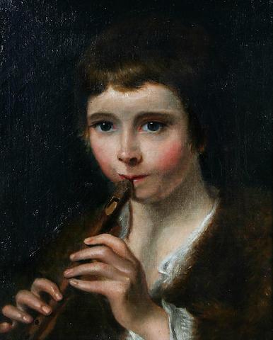 Follower of Thomas Barker of Bath (Pontypool 1769-1847 Bath) Portrait of a young boy playing a pipe,