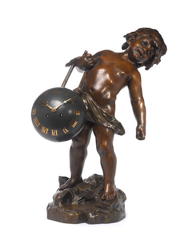 A modern French cold patinated bronze figural clock The base signed Auguste Moreau