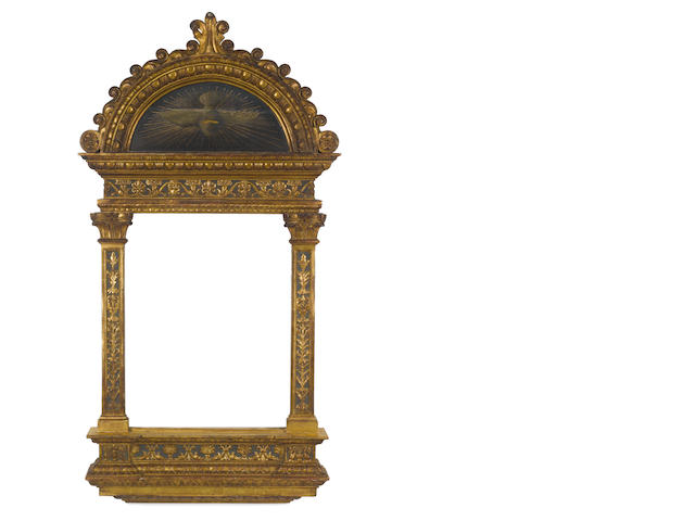 An Italian 19th Century carved and composition gilded and polychromed tabernacle frame