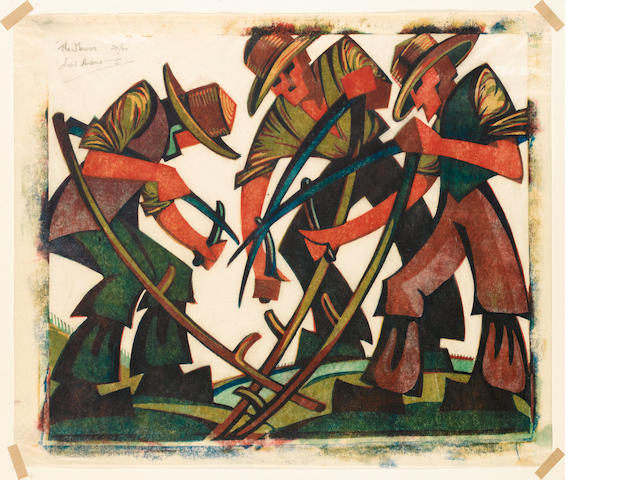 Sybil Andrews, CPE (British/Canadian, 1898-1993) Mowers Linocut, 1937, printed in raw sienna, red, v