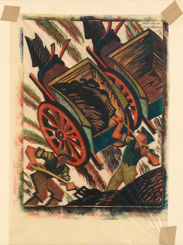 Sybil Andrews, CPE (British/Canadian, 1898-1993) Michaelmas Linocut, 1935, printed in raw sienna, spectrum red, viridian and Chinese blue, on buff oriental laid tissue, signed, titled and numbered 22/60 in pencil top right, 385 x 263mm (15 1/5 x 10 1/2in)(SH)