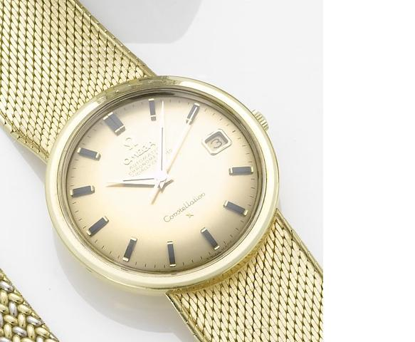 Omega. An 18ct gold automatic centre seconds calendar bracelet watch Constellation, 1980's