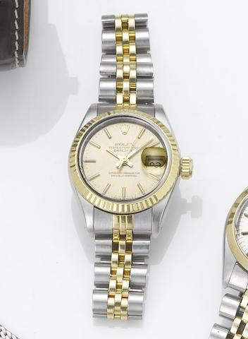 Rolex. A lady's stainless steel and gold automatic centre seconds calendar bracelet watch Datejust, 1984