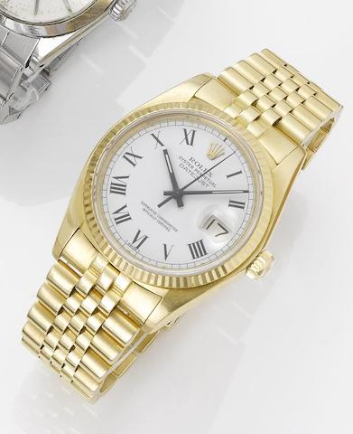 Rolex. An 18ct gold automatic centre seconds calendar bracelet watchDatejust, 1978