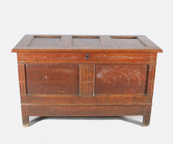 A plain late 17th century oak mule chest of good colour