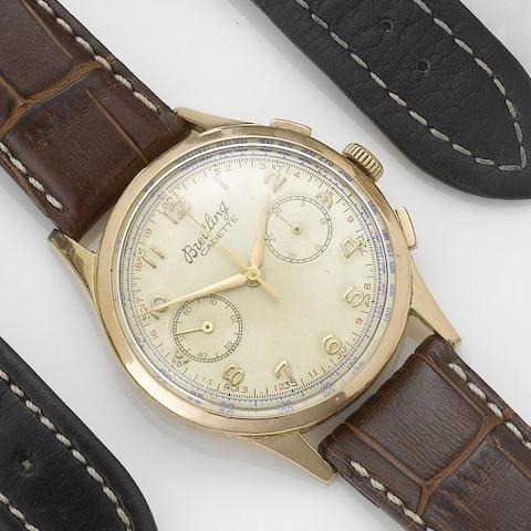 Breitling. A continental gold chronograph wristwatchCadette, 1940's