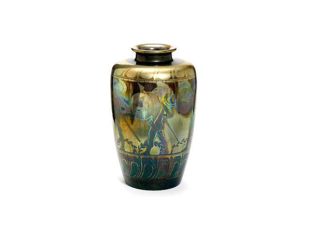 Gordon Forsyth for Pilkiington Royal Lancastrian an impressive olive green lustre Exhibition vase with Warriors, 1913