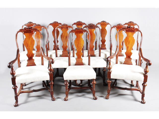 A good and clean set of twelve late 17th century style mahogany dining chairs, circa 1900